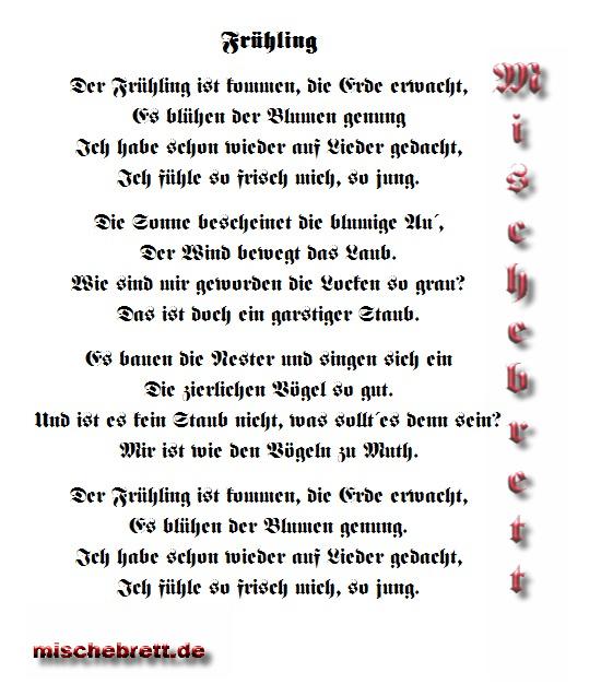 Gedicht Frühling 1822 Mischebrett